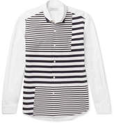 TOMORROWLAND Striped Tricot-Panelled Cotton-Poplin Shirt