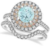 Allurez Gemstone Double Halo Round Aquamarine Ring and Band Bridal Fancy Designer Set 14k Two Tone Gold 1.59ct