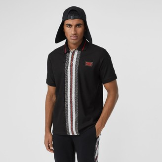 Burberry Monogram Stripe Print Cotton Pique Poo Shirt