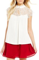 Soulmates High Neck Lace Yoke Top