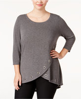 Belldini Plus Size Embellished Tulip-Hem Top
