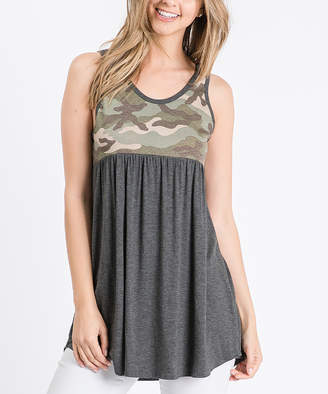 Cool Melon Women's Tank Tops Charcoal - Charcoal & Olive Camo Color Block Sleeveless Tunic - Women & Plus