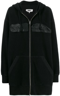 MM6 MAISON MARGIELA inside-out embroidered logo hooded jacket