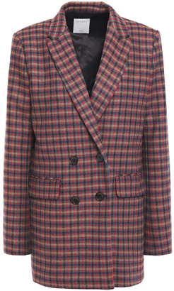 Sandro Double-breasted Checked Wool-blend Blazer