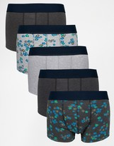 Asos Hipsters 5 Pack With Floral Marl