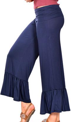 Pastels Women's Casual Pants Navy - Navy Ruflfle-Hem Gaucho Pants - Women & Plus
