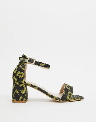 Glamorous block heels in bright leopard print-Yellow