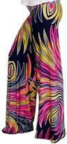 IshowStore Womens Fold Over Waist Wide Leg Printed Palazzo Pants