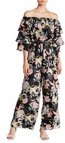 Flying Tomato Floral Off-the-Shoulder Ruffle Sleeve Jumpsuit