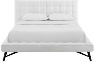 Brayden Studio Burbank Biscuit Tufted Queen Upholstered Platform Bed Color: Teal