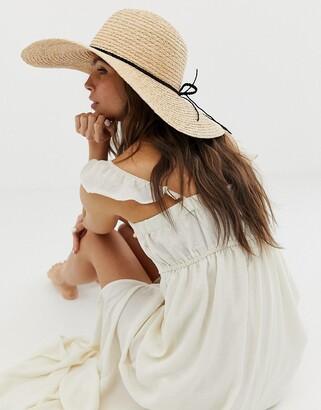 Asos Design DESIGN natural straw floppy hat with plait braid and size adjuster-Brown