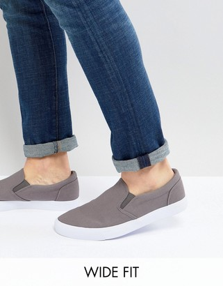 Asos Design DESIGN Wide Fit slip on sneakers in gray canvas