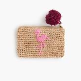 J.Crew Small flamingo straw pouch