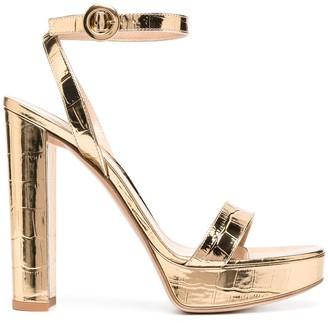 Gianvito Rossi Metallic Crocodile Effect Sandals