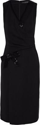 Carolina Herrera Wrap-effect Bead-embellished Silk-crepe Dress