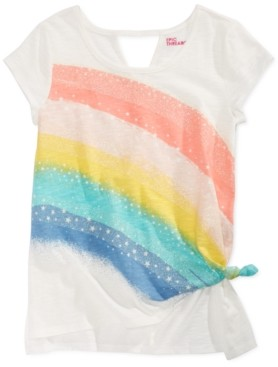 Epic Threads Big Girls Side Tie Rainbow-Print T-Shirt, Created for Macy's