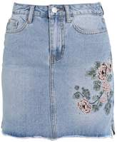 New Look MAGGIE EMBR Denim skirt mid blue