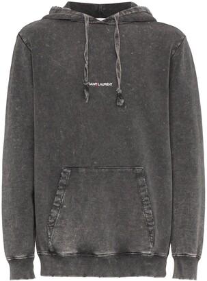 Saint Laurent distressed logo hoodie