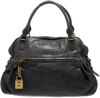 Miu Miu Dark Grey Leather Lily Distressed Satchel