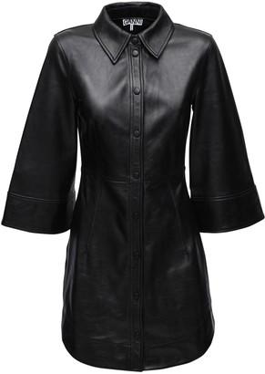 Ganni Button Down Leather Mini Dress