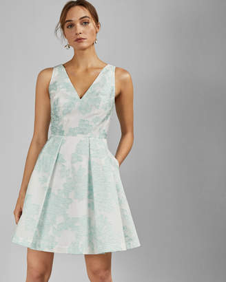 Ted Baker LEIANNA Embroidered full skirt mini dress