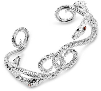 Sterling Forever Rhodium Plated Cz Interlocking Snake Cuff Bracelet