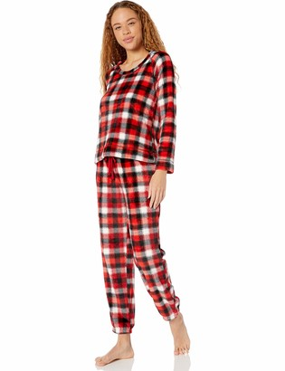 Mae Women's Marshmallow Fleece Pullover Top and Jogger Pajama Set