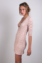 Nightcap Clothing Deep V-Victorian Dress in Nude