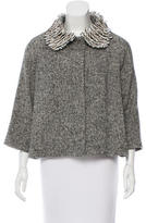 Andrew Gn Feathered Collar Wool Jacket