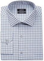 Alfani Big and Tall Men's Performance Mallard Blue Line Gingham Dress Shirt, Only at Macy's