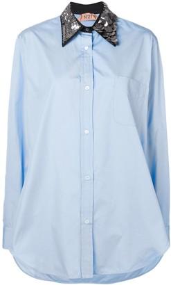 No.21 oversized sequin-collar shirt
