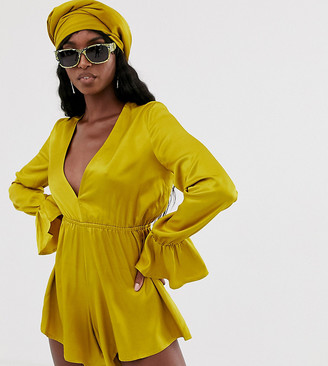 Taller Than Your Average TTYA plunge front playsuit with fluted sleeve detail in rich yellow