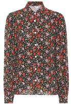 ALEXACHUNG Floral-printed crêpe shirt
