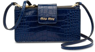 Miu Miu Crocodile-Embossed Leather Mini Bag