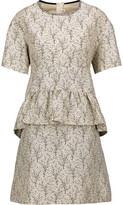 Marni Printed Cotton-Blend Peplum Mini Dress