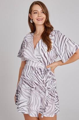 Girls On Film Curvy Florrie Zebra-Print Tea Dress