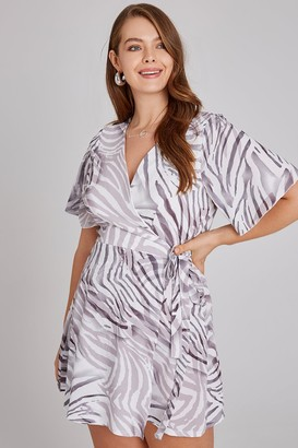 Little Mistress Curvy Girls On Film Curvy Florrie Zebra-Print Tea Dress