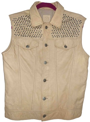 Ash Beige Leather Leather Jacket for Women
