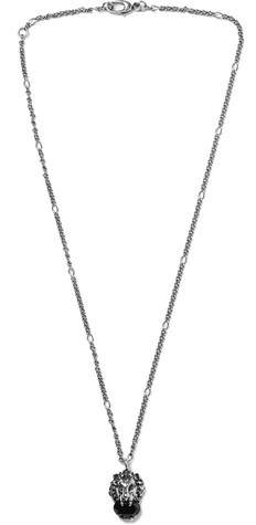 Gucci Burnished Silver-Tone Swarovski Crystal Necklace