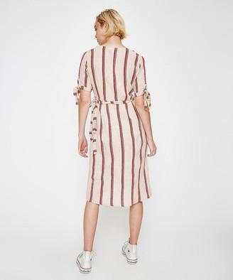 Rue Stiic Albany Stripe Wrap Dress Sand/Red