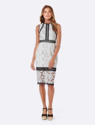 Forever New Theresa Lace Pencil Dress - Porcelain/ Black Lace - 4