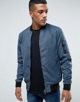 Solid Ma1 Bomber Jacket In Washed Blue