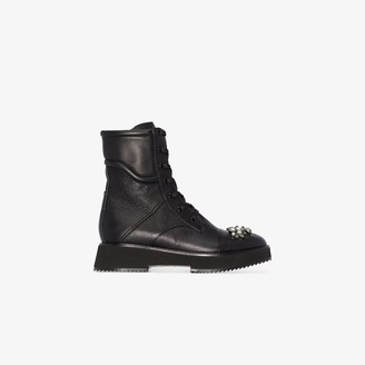 Jimmy Choo black Hadley embellished leather boots