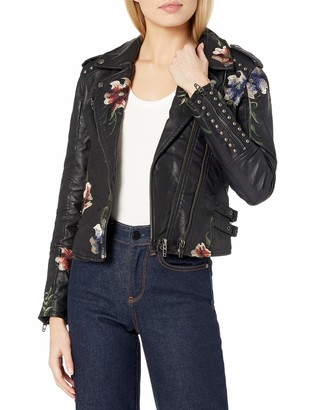 Blank NYC Women's Black Vegan Leather Floral Embroidered Jacket