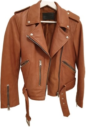 AllSaints Orange Leather Jacket for Women