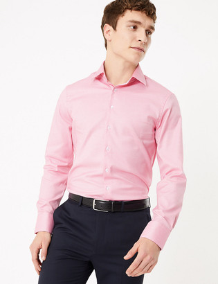 Marks and Spencer Slim Fit Cotton Dogtooth Shirt