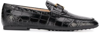 Tod's Crocodile-Effect Leather Loafers