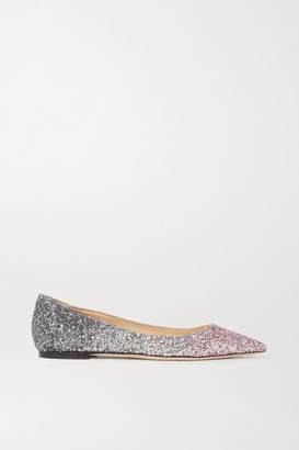 Jimmy Choo Romy Ombre Glittered Leather Point-toe Flats - Silver