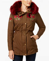 Buffalo David Bitton Hooded Embroidered Parka with Faux-Fur Trim