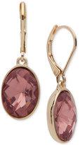 Nine West Gold-Tone Pink Stone Drop Earrings